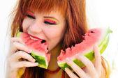 Enjoying of watermelon — Stock Photo