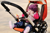 Cute baby in stroller — Stock Photo