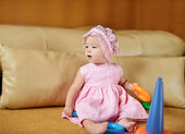 Baby girl playing at home — Stock Photo