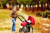 Woman with stroller — Stock Photo