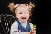 Toddler girl with ponytail hairstyle — Stock Photo