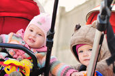 Friends in strollers — Stock Photo
