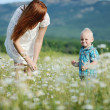 Family in field — Stock Photo