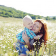 Hugging mother and son — Stock Photo