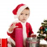 Surprised little santa girl — Stock Photo #26684097