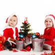 Stock Photo: Funny baby santas