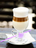 Latte in the glass — Stock Photo