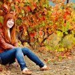 Redhead teen girl in fall time — Stock Photo