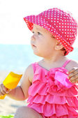 Cute baby on beach — Stock Photo