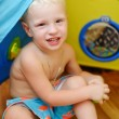 Baby in toy tent — Stock Photo