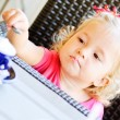 Toddler girl in cafe — Stock Photo