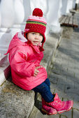 Funny winter toddler — Stock Photo