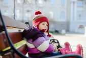 Baby on the bench — Stock Photo