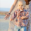 Baby boy running from mother — Stock Photo