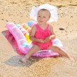 Funny baby on the beach — Stock Photo