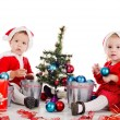 Stock Photo: Baby girl santas