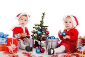 Baby mädchen santas — Stockfoto