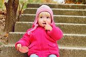 Girl picking nose — Stock Photo