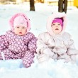 Babies in snow — Stock Photo