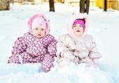 Babies in snow — Stock Photo