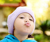 Toddler making face — Stock Photo
