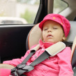 Girl sleeping in car seat — Stock Photo #33235727