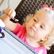 Toddler girl in cafe — Foto Stock