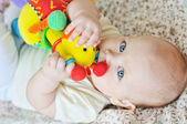 Baby biting a toy — Stock Photo
