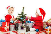 Two santa helpers — Stock Photo