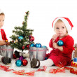 Little santa helpers — Stock Photo