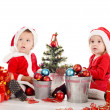 Two baby santas — Stock Photo