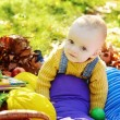 Stock Photo: Funny baby boy in fall