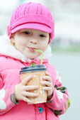 Girl with hot drink — Stock fotografie
