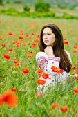 Ukrainian lady  in field — Stockfoto