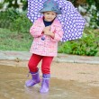 Toddler girl at rainy day i — Stock Photo #48842557