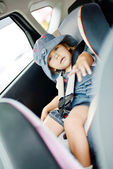 toddler in   car seat — Stock Photo