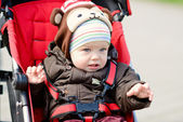 Baby boy in  stroller — Stock Photo