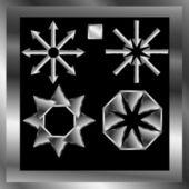 Una serie di indicazioni di direzione su uno sfondo nero — Vettoriale Stock