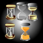Set of vector hourglass — Stock Vector