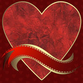 Image of heart on a red background — Stock vektor