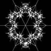 Ornate decorative snowflake on a black background — Stockvektor