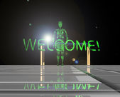 Green invites the stranger to his planet  — Photo