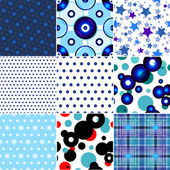 Set of nine seamless patterned texture — Stock Vector