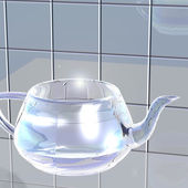 Transparent glass teapot  — Stockfoto