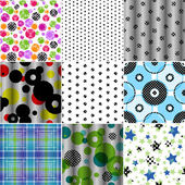Set of nine seamless patterned texture — Stock vektor
