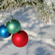 Three colour balls on a pines branch — Stock Photo #1357336