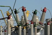 Part of high-voltage substation — Stock Photo