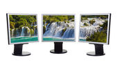 Waterfall KRKA (Croatia) in computer screens — Stock Photo