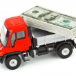 Toy truck with money — Stock Photo