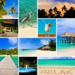 Collage of summer beach maldives images - Stok fotoğraf
